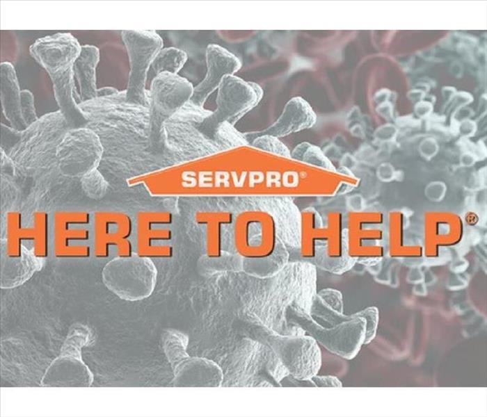 Image of coronavirus with orange letters stating Here to Help